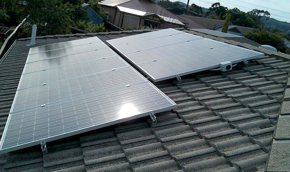 Ten Solar Panels on an Adelaide tiled roof