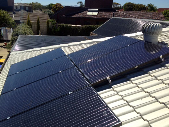 Roof mounted Black Solar panels