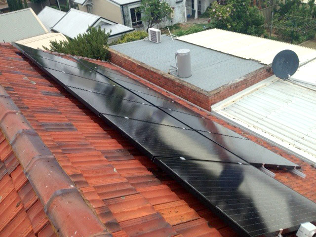 Solar Panels on a tiled roof Adelaide suburb