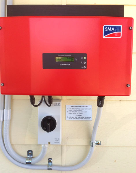 Detail of SMA Sunny Boy Solar Inverter and wiring